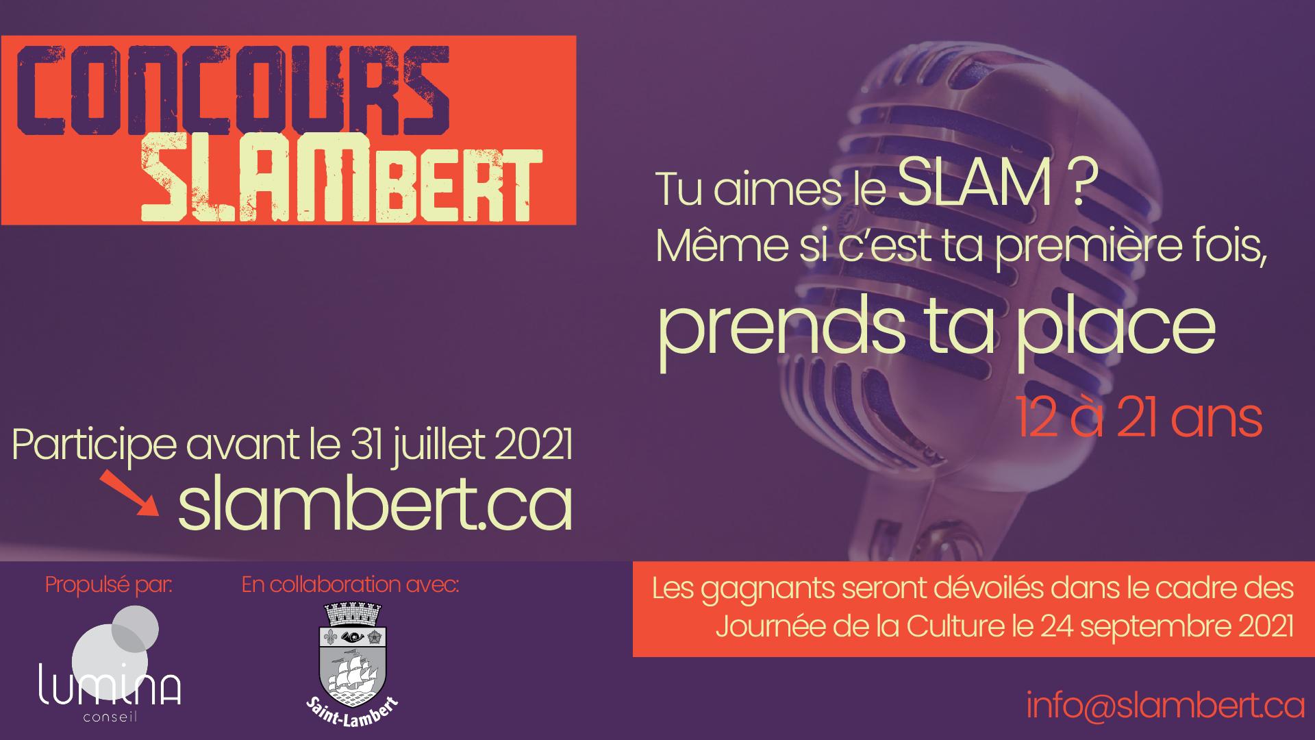 Participe au premier concours de slam de Saint-Lambert!